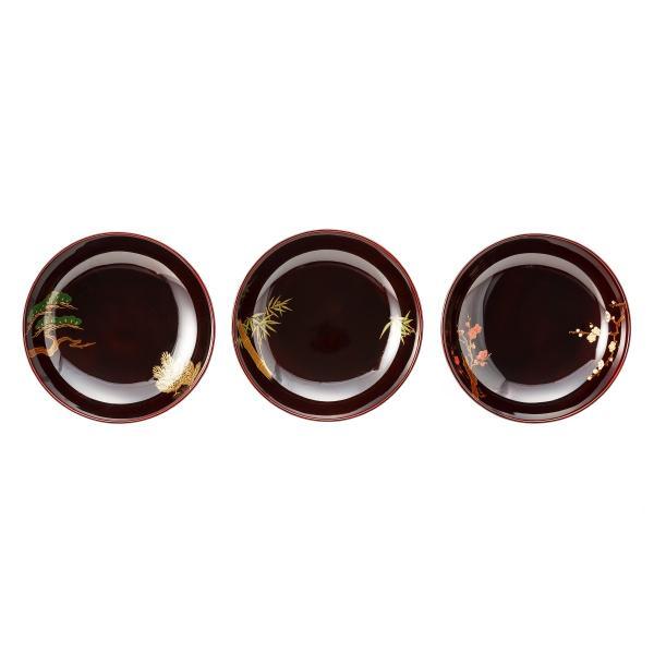 輪島塗 小皿 三の響 松竹梅 3枚セット|tayasikkitenn