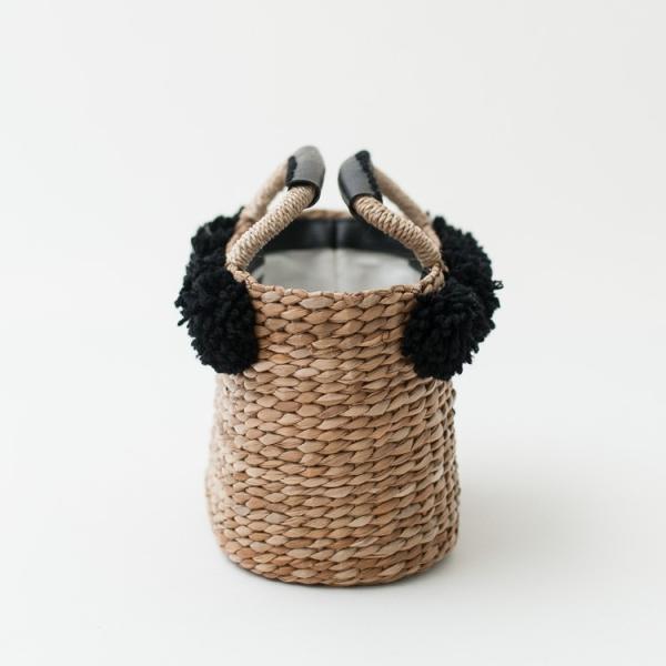 かごバッグ カゴバッグ レディース バンクアン 巾着 ポンポン付き ZIP18105  レディース ハンドメイド 木製 バッグ カゴバッグ 籠バッグ