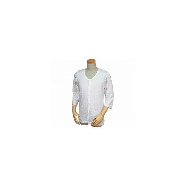 紳士用 キルト八分袖前開きシャツ(ワンタッチテープ式) W460  70代 80代 高齢者 老人 お年寄り 敬老の日 プレゼント