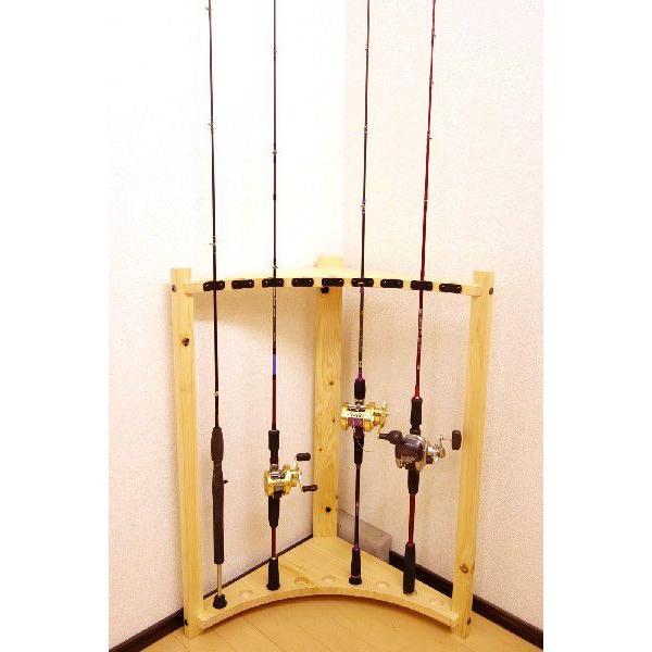 【標準・1ピース用】RS-3 9本用 ヒノキ無垢材 【家具職人の作ったロッドスタンド】|tedukurikaguueda