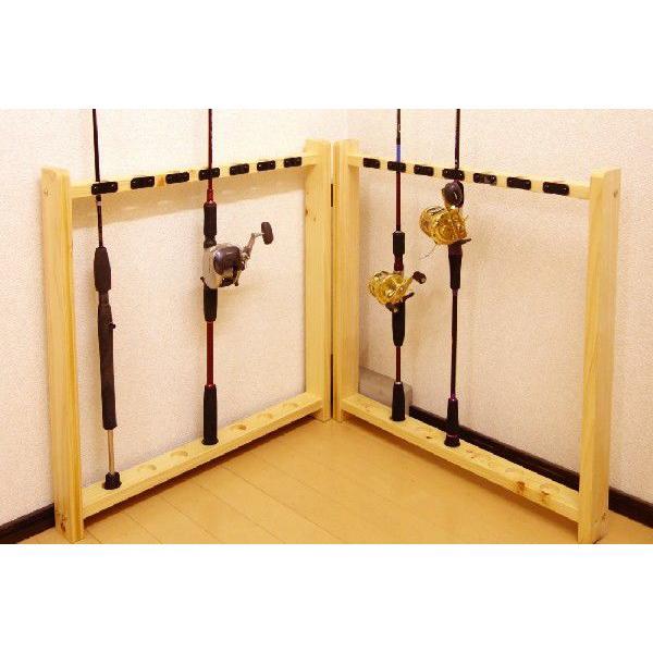 【太穴・2ピース用】 RS-2 14本収納 ヒノキ無垢材 【家具職人の作ったロッドスタンド】