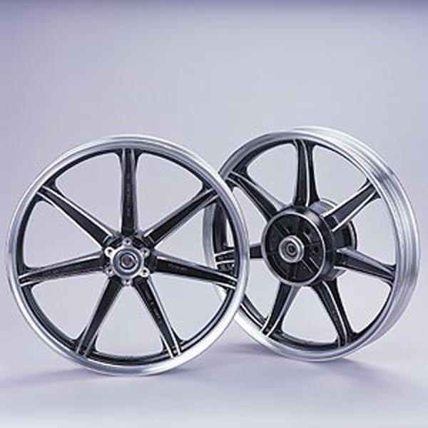 ヤマハ YAMAHA   4521407035748 ワイズギア キャストホイールセット 切削ブラック SR400用 チューブタイヤ チューブレスタイヤ