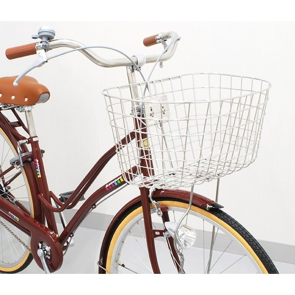 4510676100455  PALMY パルミー   自転車用フロントバスケット GK-601st オシャレ丸型ワイヤーカゴ ステンレス  通学カバンも ステンレス 丸