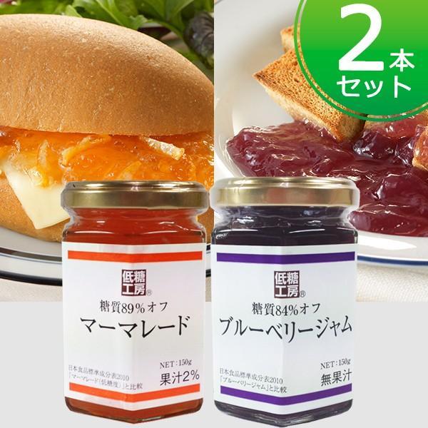 ジャム コンフィチュール 糖質オフ ジャム 2種×2本セット(ブルーベリージャム、マーマレード) 砂糖不使用 糖類ゼロ ノンシュガー  製菓