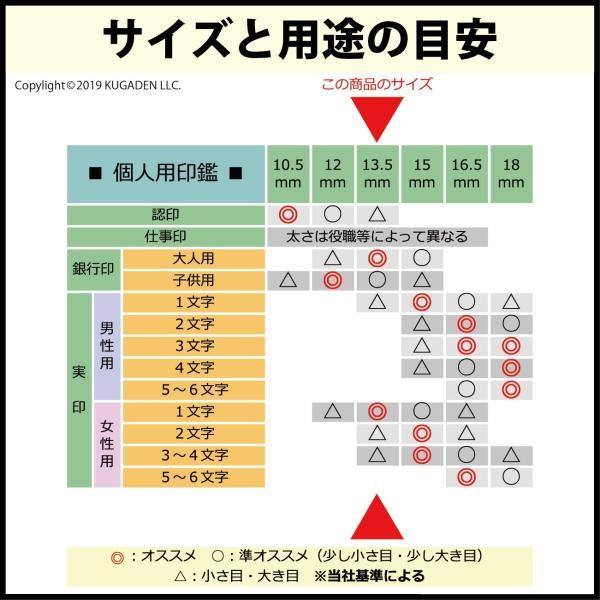 個人印鑑 チタン・光沢ゴールド13.5mm(銀行印など) tekakiya 03