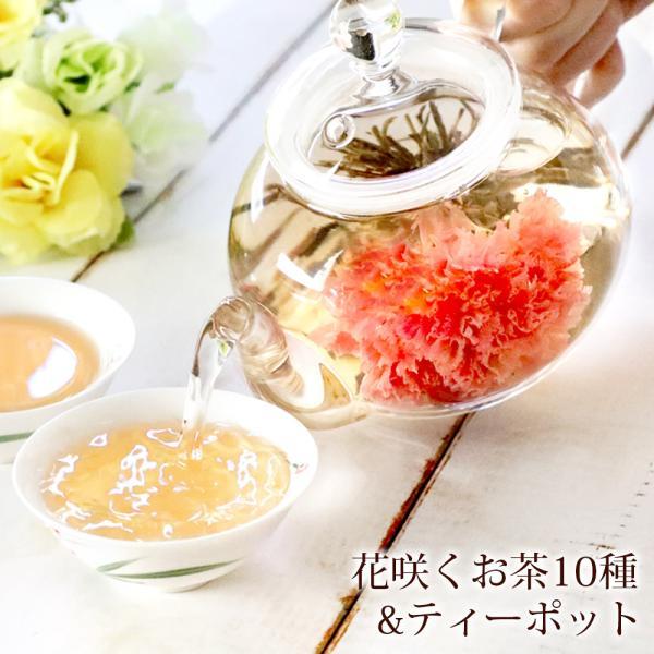 母の日遅れてごめんね2021プレゼントカーネーション花咲く花茶工芸茶10種ガラスティーポット優雅セットフラワーギフト雑貨ジャスミ
