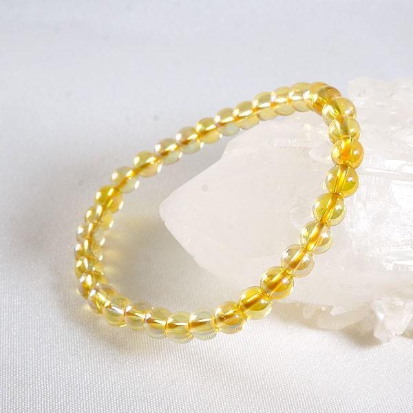 ゴールドオーラ 水晶 (6mm )ブレスレット パワーストーン 天然石 アクセサリー