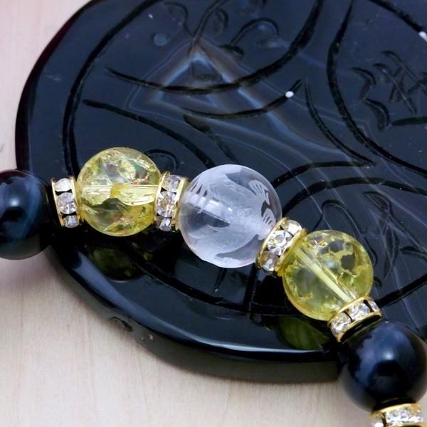 30%OFF タイムセール 激強運 ブレスレット 手彫り青龍水晶×オニキス×クラック黄水晶