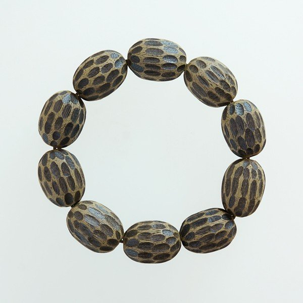 最高の香木 沈香 じんこう アロマ 土沈香ブレスレット 楕円18×25mm L 内周約18cm パワーストーン 天然石 腕輪