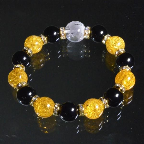 水晶素彫り龍青龍ブレスレット 内周約16.5cm パワーストーン 天然石 腕輪