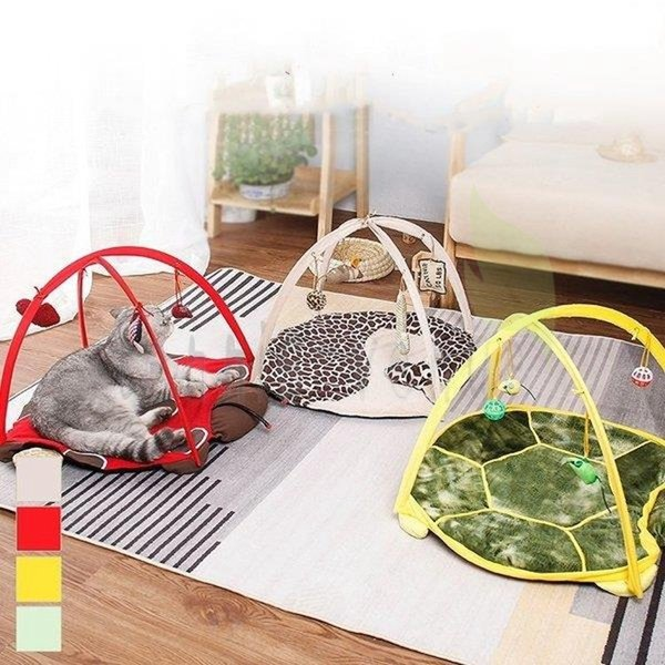 ペット 猫 おもちゃ トンネル ベッド 犬 ぬいぐるみ マット プレイマット てんとう虫 カメ レオパード柄 ラウンド レッド ブラウン ホワイト イエロー