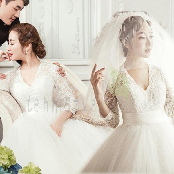 ウエディングドレス マタニティドレス エンパイアライン 長袖 安い 花嫁 二次会 ウェディングドレス 結婚式 披露宴 ブライダル ロングドレス wedding dress