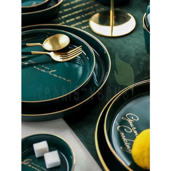 プレート お皿 来客用  プレゼント ギフト お祝い 大皿 中皿 小皿 ボウル 取り皿 お箸 ロゴ グリーン ゴールド ホームパーティー 上品 上質