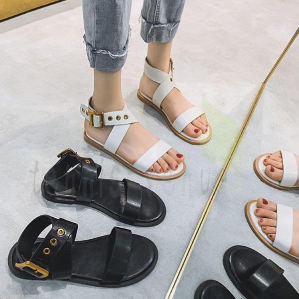 サンダル レディース 夏 靴 ローファー 歩きやすい 美脚 グラディエーターサンダル 新品 フラットサンダル 疲れない カジュアル オシャレ 外履き 上品 2色