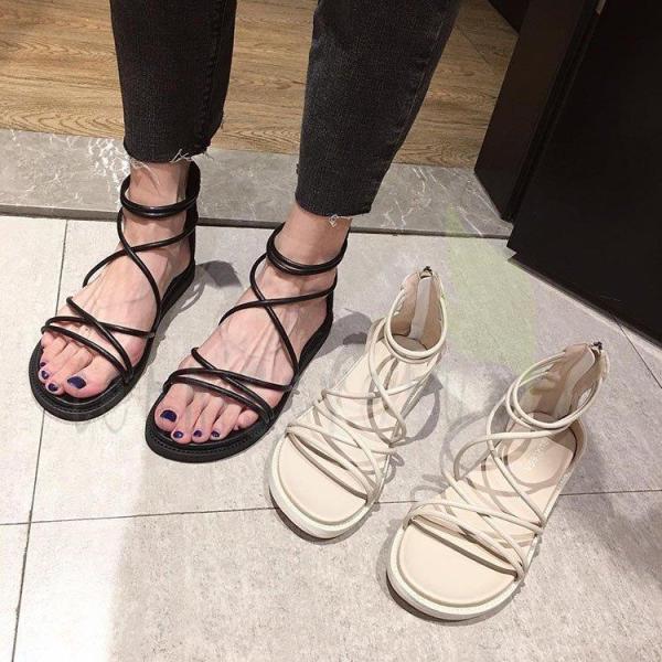 サンダル レディース 夏 靴 新品 グラディエーターサンダル オシャレ 上品 フラットサンダル 美脚 歩きやすい 疲れない カジュアル 室外 外履き きれいめ 2色