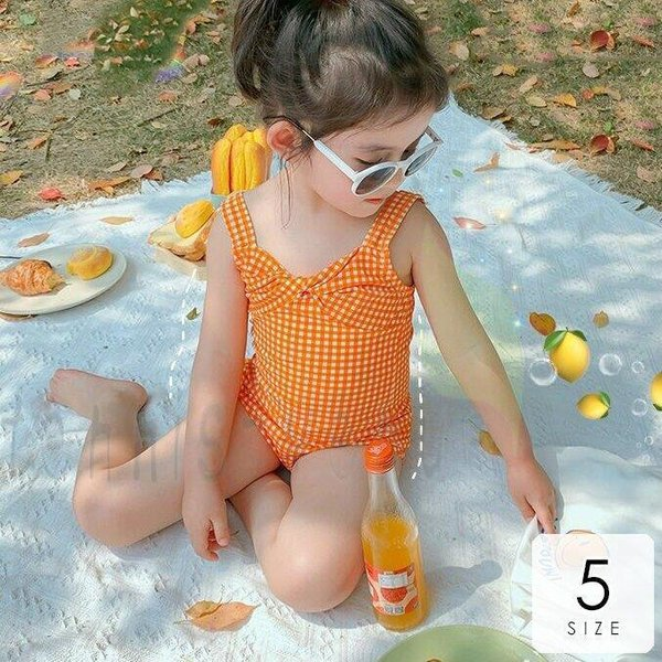 水着 女の子 かわいい 子供 水着 UVカット 90cm100cm110cm120cm130cm ギンガムチェック柄 リボン ビタミンカラー ポップ オレンジ魅力的 休日 癒し /[akx76]