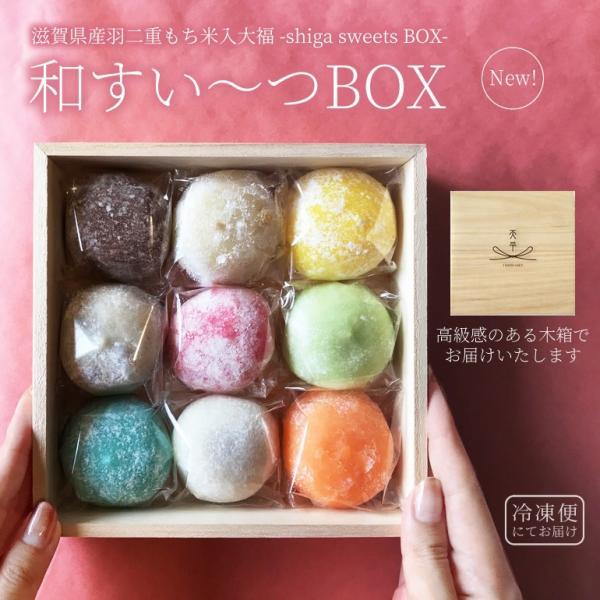 カラフルでかわいい9種類の大福 詰合わせ 和すいーつBOX ギフトや贈り物にオススメ 最高級の滋賀県産羽二重もちの極上の粘りと甘みが自慢です インスタ映えも|tenpeikimuchi