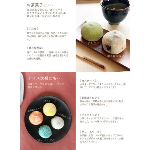カラフルでかわいい9種類の大福 詰合わせ 和すいーつBOX ギフトや贈り物にオススメ 最高級の滋賀県産羽二重もちの極上の粘りと甘みが自慢です インスタ映えも|tenpeikimuchi|05