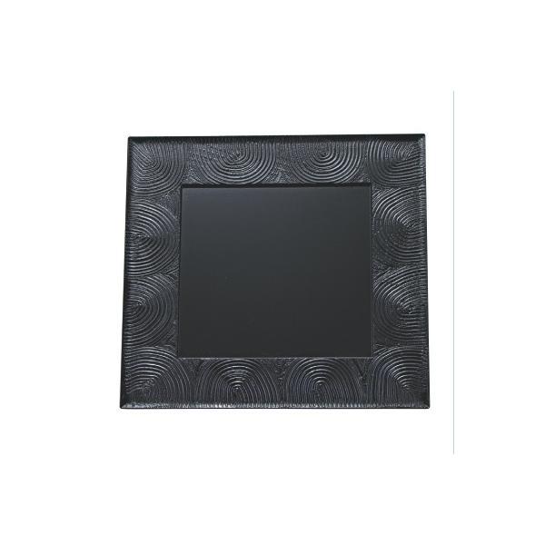 お盆 懐石炉縁盆絞り漆刻黒渦尺1 幅333 奥行333 高さ14/業務用/新品