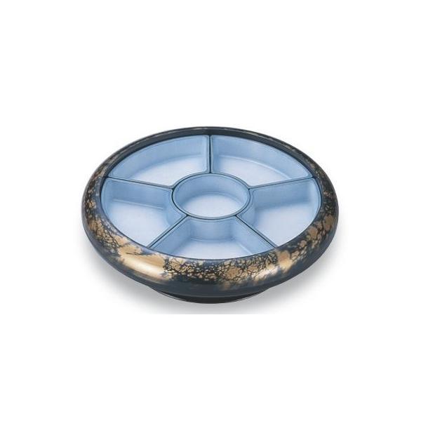 ビュッフェプレート 尺2寸S.D.X回転盛桶 青パール八雲 仕切青磁吹付 高さ122 直径:403 /業務用/新品