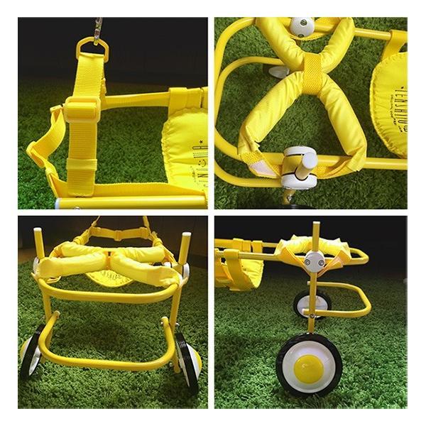 犬の車椅子 Sサイズ イエロー 介護 後脚サポート車椅子 車いす 犬用|tenshinowa1224|04