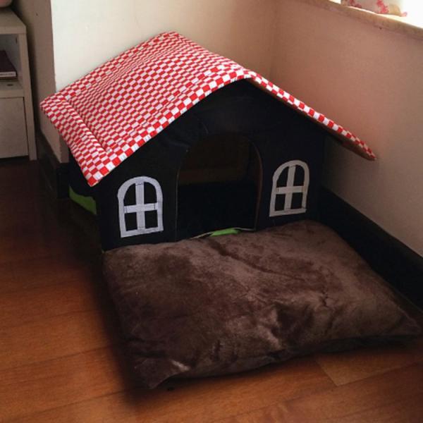 送料無料 屋根のマイホームベッド クッション ハウス ドーム ペットベット ボンビアルコン おっきなお庭つきハウス 犬のベッド 猫のベッド|tentenya|02