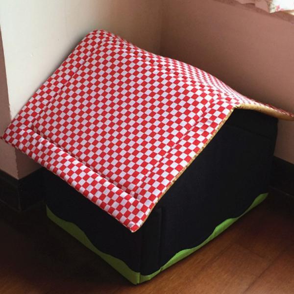 送料無料 屋根のマイホームベッド クッション ハウス ドーム ペットベット ボンビアルコン おっきなお庭つきハウス 犬のベッド 猫のベッド|tentenya|03
