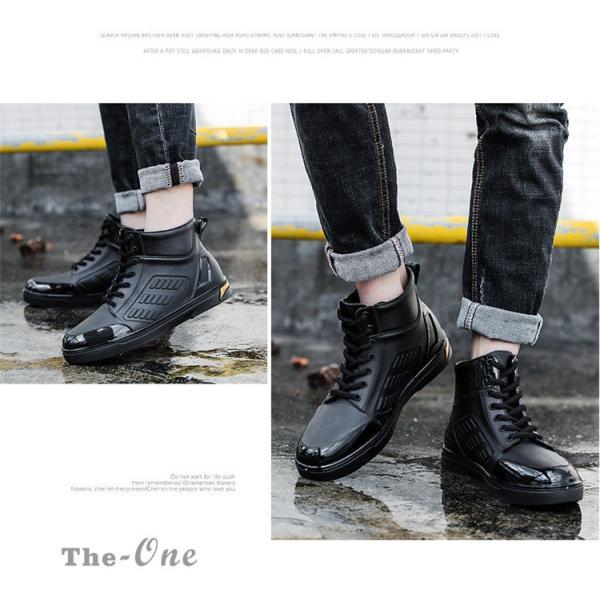 レインシューズ メンズ 雨靴 レインブーツ ショート 防水靴 ショートブーツ ハイカット 靴 防水 おしゃれ 梅雨|tenze|04