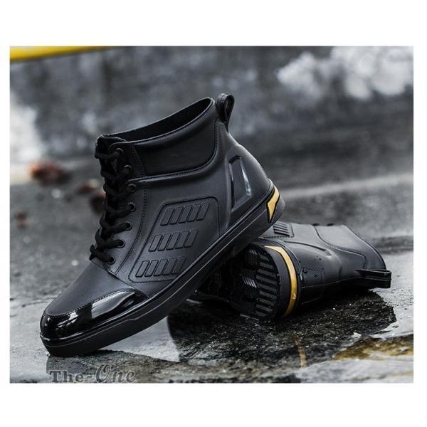 レインシューズ メンズ 雨靴 レインブーツ ショート 防水靴 ショートブーツ ハイカット 靴 防水 おしゃれ 梅雨|tenze|05