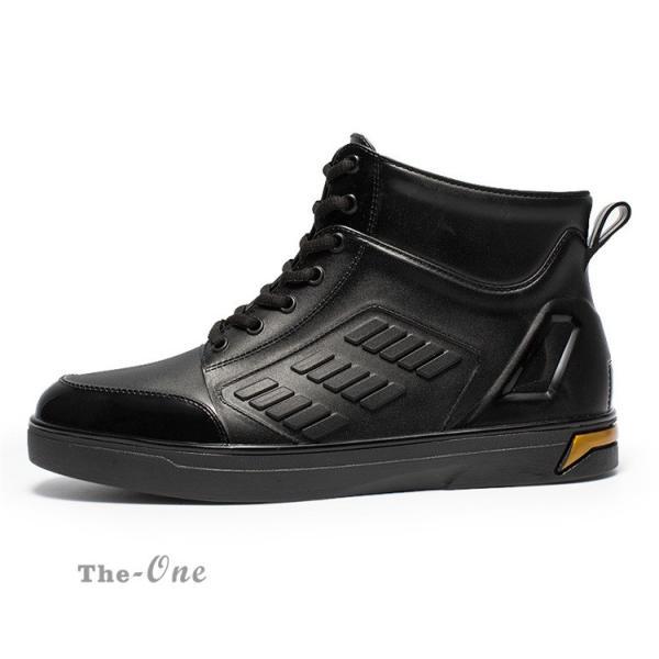 レインシューズ メンズ 雨靴 レインブーツ ショート 防水靴 ショートブーツ ハイカット 靴 防水 おしゃれ 梅雨|tenze|07