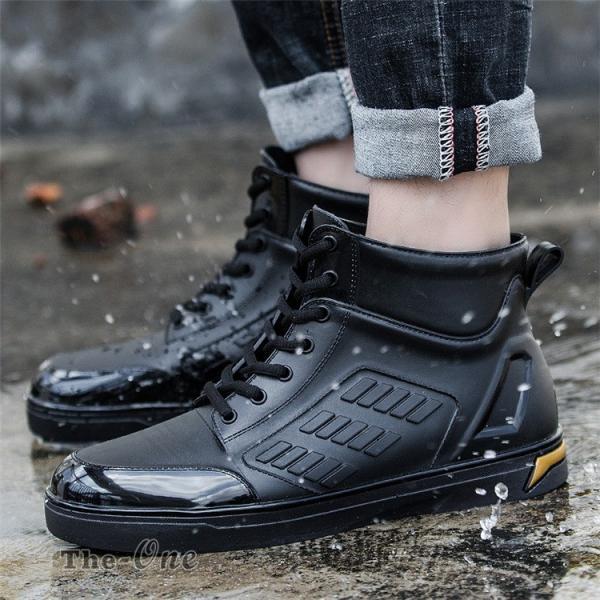 レインシューズ メンズ 雨靴 レインブーツ ショート 防水靴 ショートブーツ ハイカット 靴 防水 おしゃれ 梅雨|tenze|09