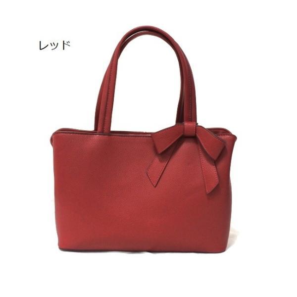 レディース リボン付き ハンドバッグ B5サイズ フォーマル 結婚式 きれい系 スクエア 通勤 かばん 鞄 カバン