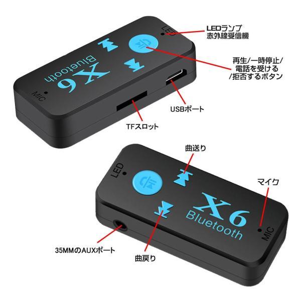 Bluetooth レシーバー 車載 オーディオ 音楽プレーヤー ハンズフリー 通話 3.5mm USB iPhone Android スマートフォン対応 TFカード対応可能|teruyukimall|07