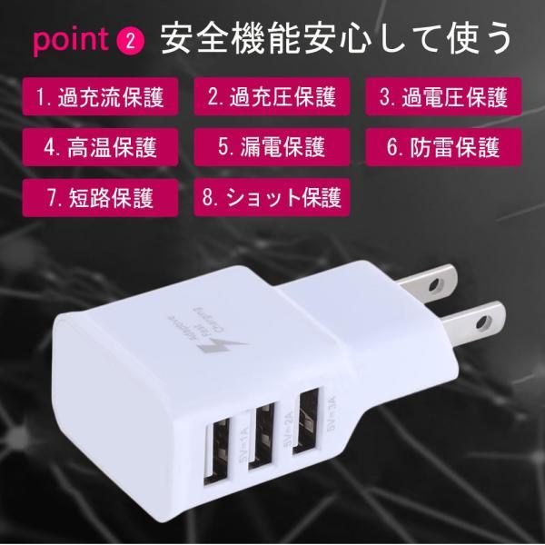 USB充電器 コンセント ACアダプター アンドロイド 3ポート2A 3台同時充電可能 iPhone/iPad/MacBook/Android 各種対応|teruyukimall|03