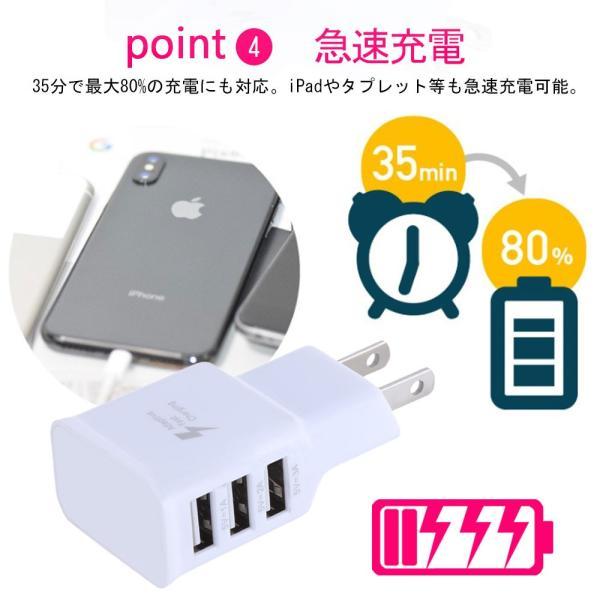 USB充電器 コンセント ACアダプター アンドロイド 3ポート2A 3台同時充電可能 iPhone/iPad/MacBook/Android 各種対応|teruyukimall|05