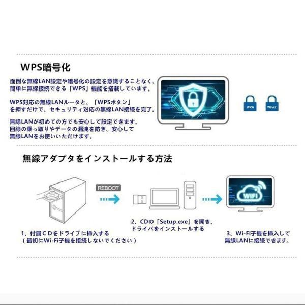 無線LAN 子機 WiFi アダプター ハイパワーアンテナ 11ac/n/a/g/b 2.4GHz 150Mbps/5GHz 433Mbps対応 Windows10 Mac OS X対応 1ヶ月保証 K&M teruyukimall 05