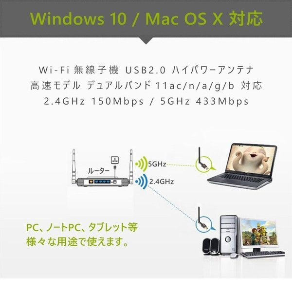 無線LAN 子機 WiFi アダプター ハイパワーアンテナ 11ac/n/a/g/b 2.4GHz 150Mbps/5GHz 433Mbps対応 Windows10 Mac OS X対応 1ヶ月保証 K&M teruyukimall 06