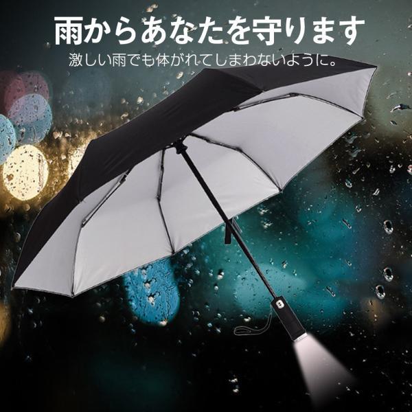 日傘 LED搭載 折りたたみ傘  折り畳み傘 自動開閉 高強度グラスファイバー LED搭載 雨具 撥水 丈夫 対強風 おしゃれ 折畳傘|teruyukimall|02