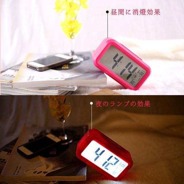 目覚まし時計 めざまし時計 デジタル時計 バックライト 温度計 アラーム カレンダー 目覚まし機能 子供 大音量 大画面 自動点灯|teruyukimall|05