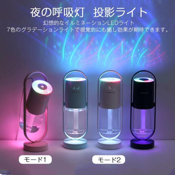 加湿器 投影加湿器 超音波式 持ち運び便利 ミニ加湿器 室内 車載用 USB給電 空気浄化機 七色LEDライト teruyukimall 04