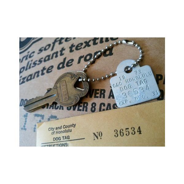 ホノルル ハワイ ドッグタグ キーホルダー '73デッドストック HAWAII HONOLULU DOG TAG アメリカ雑貨 アメリカン雑貨|texas4619