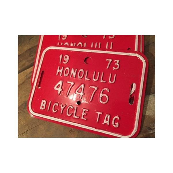 ホノルル ハワイ 自転車 ナンバープレート(赤) 70sデッドストック HAWAII HONOLULU アメリカ雑貨 アメリカン雑貨|texas4619
