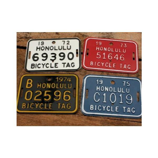 ホノルル ハワイ 自転車 ナンバープレート(赤) 70sデッドストック HAWAII HONOLULU アメリカ雑貨 アメリカン雑貨|texas4619|03
