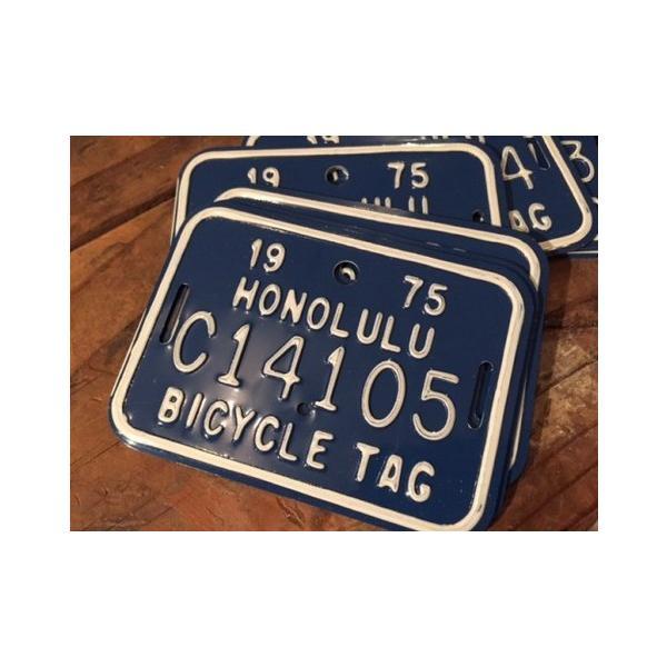 ホノルル ハワイ 自転車 ナンバープレート(青) 70sデッドストック HAWAII HONOLULU アメリカ雑貨 アメリカン雑貨|texas4619