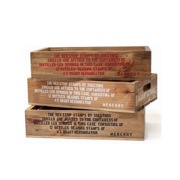 MERCURY リサイクルウッドクレート(レッド) マーキュリー ウッドボックス 木箱 アメリカ雑貨 アメリカン雑貨 texas4619 02