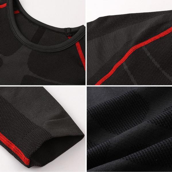 ポイント消化 加圧 スポーツインナー メンズ アンダーシャツ 長袖 シャツ フィトネス 姿勢矯正 着圧 上下セット 17FT01|tfashion|06