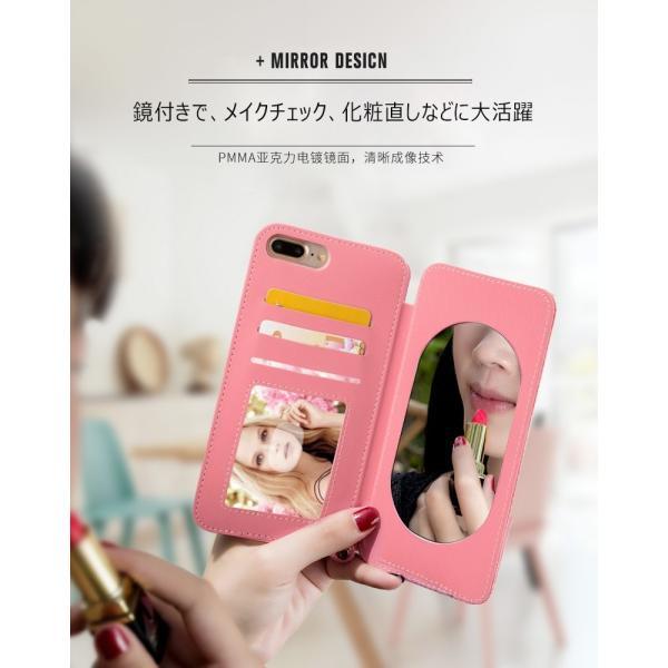ポイント消化 訳あり スマホケース iPhone 7 8 X ミラー付き ストラップ スタンド 手帳型 KJM|tfashion|03