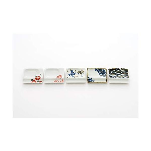 アイトー(Aito)小皿ホワイト7×8×1.3cm美濃焼便利な箸置き小皿(5柄組)白赤青黒20201173