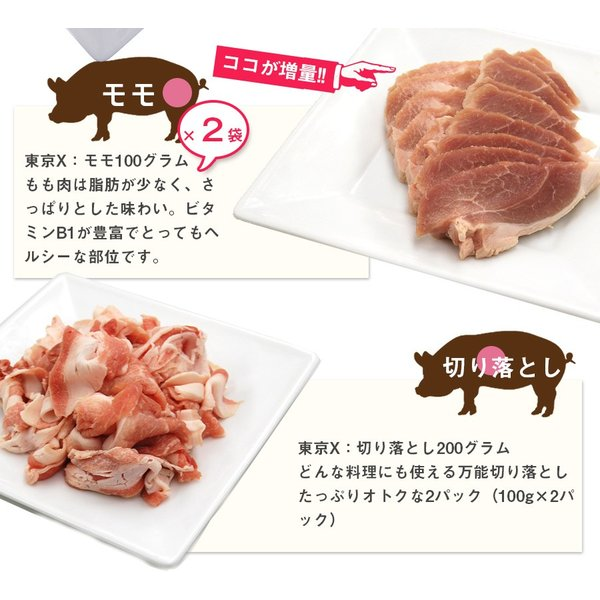送料無料 TOKYO X 食べつくしセット 1.6kg 幻の豚肉 東京X トウキョウエックス 豚肉 肩ロース バラ肉 モモ肉 切り落とし 更におまけに200g|the-nikuya|05