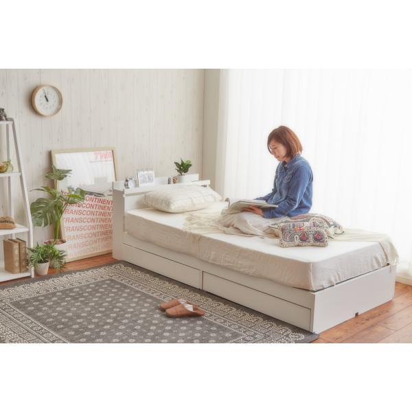 ベッド シングルベッド シングルベット 白い 収納ベッド ベッドフレームのみ マットレス無し 棚 コンセント付 themall 02